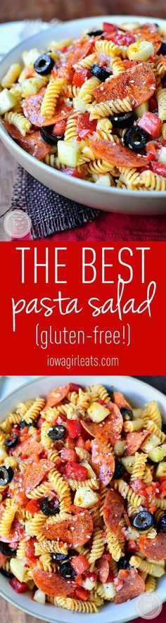 """The BEST Pasta Salad Recipe via Iowa Girl Eats - This """"is an old family recipe. Simple and simply the best (easily made gluten-free, too!)"""" Easy Pasta Salad Recipes - The BEST Yummy Barbecue Side Dishes, Potluck Favorites and Summer Dinner Party Crowd Pleasers"""
