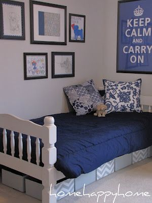 Love this - used cardboard boxes, painted chevron pattern, for underbed storage. Also love the wall art, and colors.