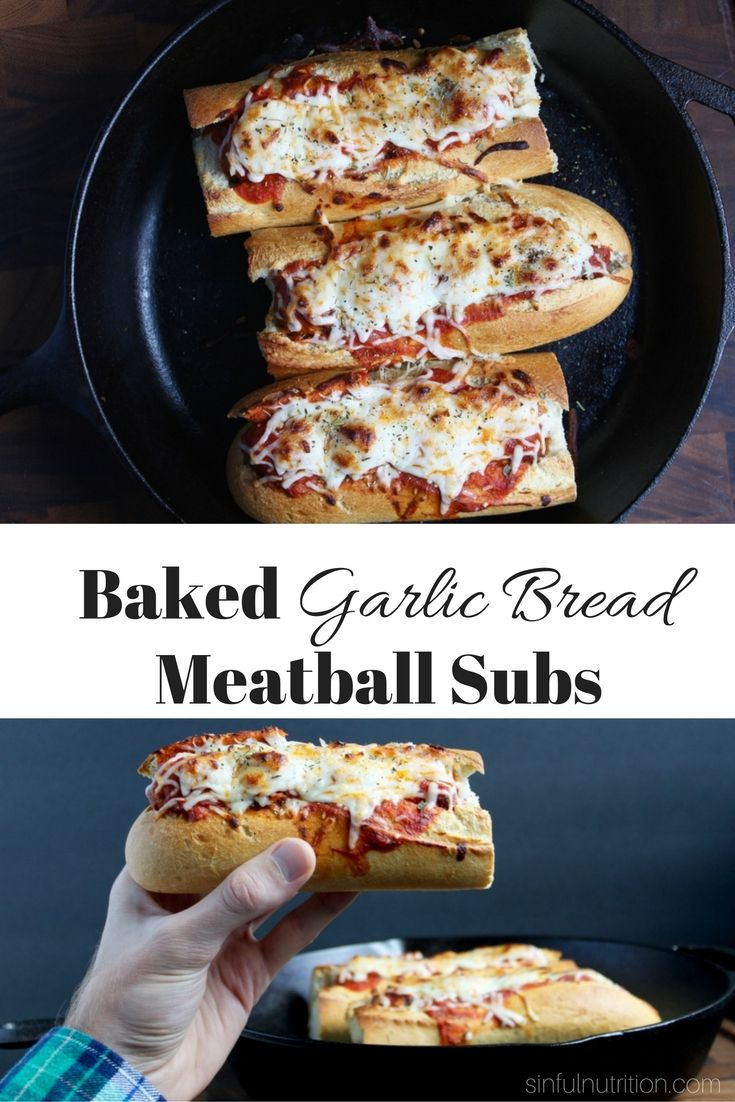 Baked Garlic Bread Meatball Sub Recipe -- Italian-style meatballs nestled in buttery garlic bread, and topped with melty mozzarella | @sinfulnutrition www.sinfulnutrition.com