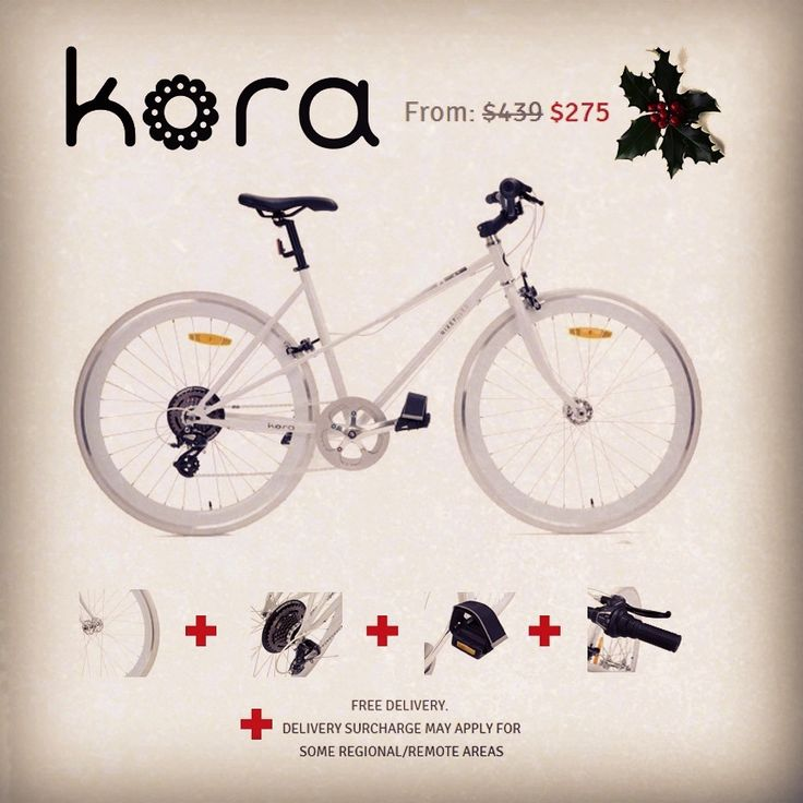 Here's another Christmas shopping idea! A stylish new Kora from only $275 (RRP:$439) It's packed with amazing features such as 1) 42mm double walled alloy deep dish rims + 2) Shimano Altarus 7Sp 3) Velcro speed straps 4) Alloy brake levers, hubs, handlebar, headset & crank. #DeepDish #StepThrough #MegaRange #SpeedStrap #NeedForSpeed #ProMax #Bicycles #Velo