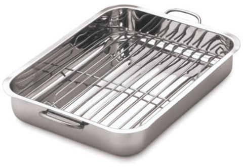 Stainless Steel Roasting/Baking Pan with Rack Case Pack 6