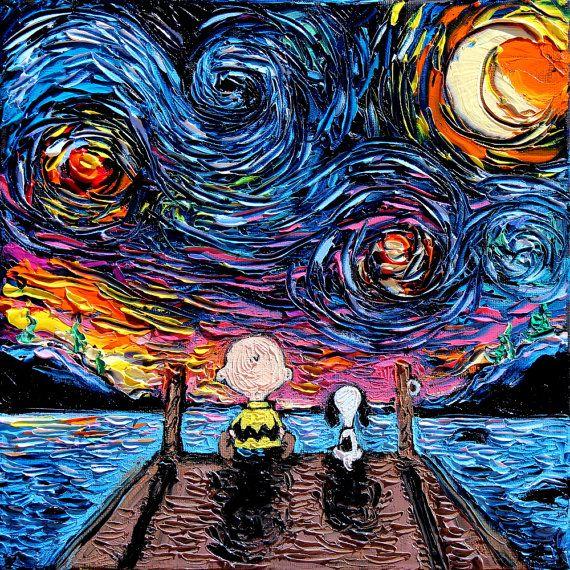 Snoopy y Charlie Brown arte impresión noche estrellada de
