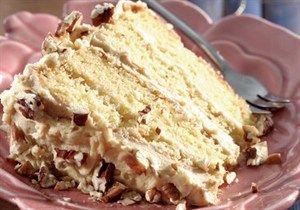 Layered vanilla & pecan nut cake
