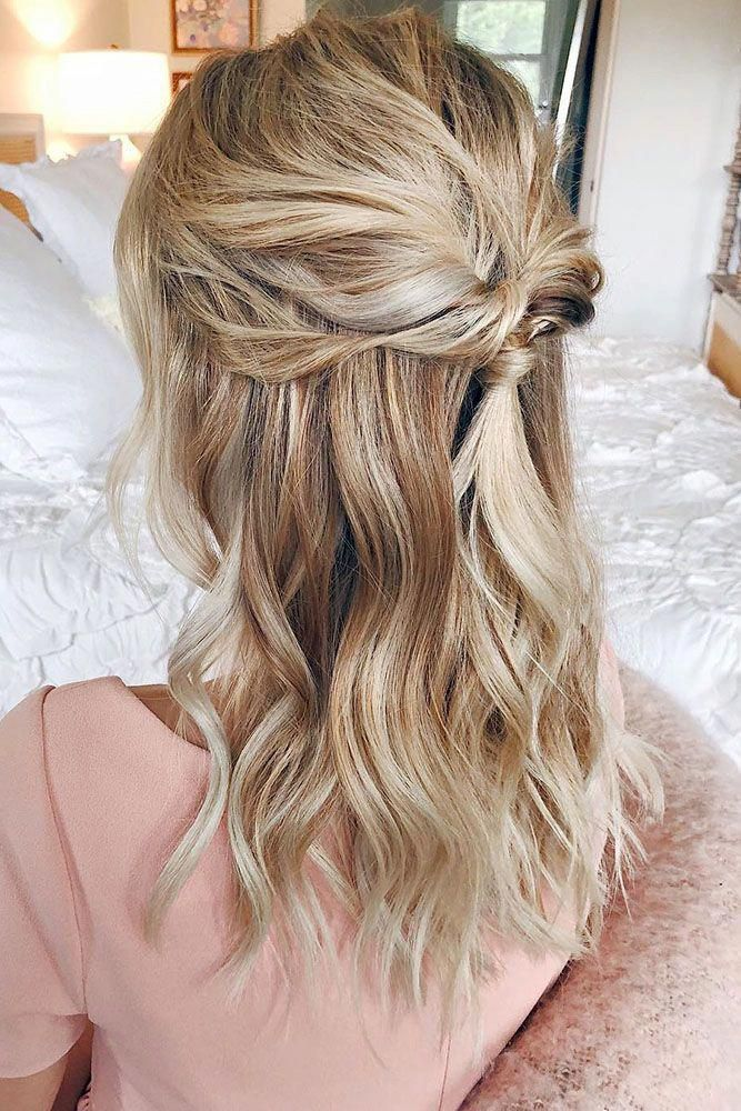 Wedding Hairstyles Medium Hair Twisted Half Up Half Down