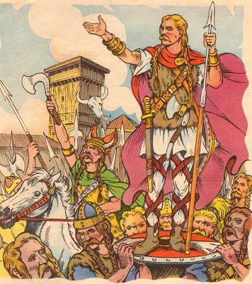 Clovis (466-511) est reconnu roi des Francs. L'illustrateur Henri Dimpre (1907-1971)
