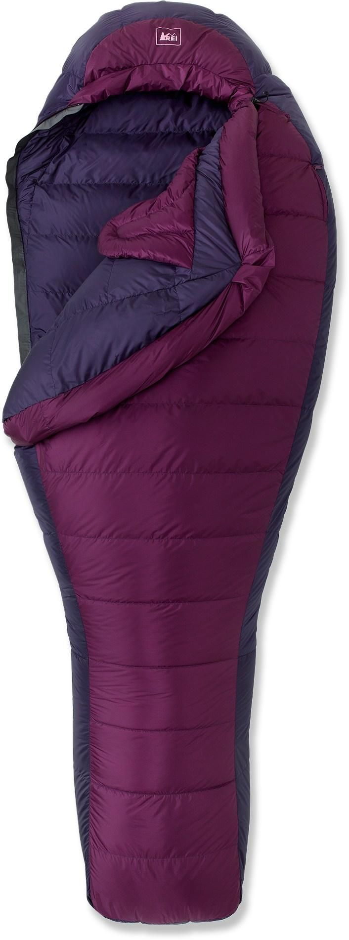 The women's REI Joule Sleeping Bag keeps you snug as a bug with 800-fill down and a waterproof, breathable shell.
