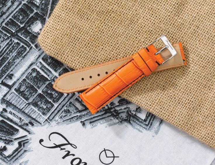 Orange leather strap