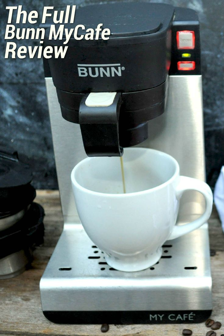 The Bunn MyCafe single cup multi-use brewer is a versatile coffee machine that can accommodate older-styles K-Cups (i.e. not the 2.0 range) and ground coffee. The brewer also works with tea pods, tea bags, and loose tea, in addition to dispensing plain hot water on demand. There are separate, interchangeable drawers for each type of brewing. The Bunn MyCafe has a fast heat-up time of around 30 seconds and an internal water tank with 14oz capacity (there is no external water reservoir).