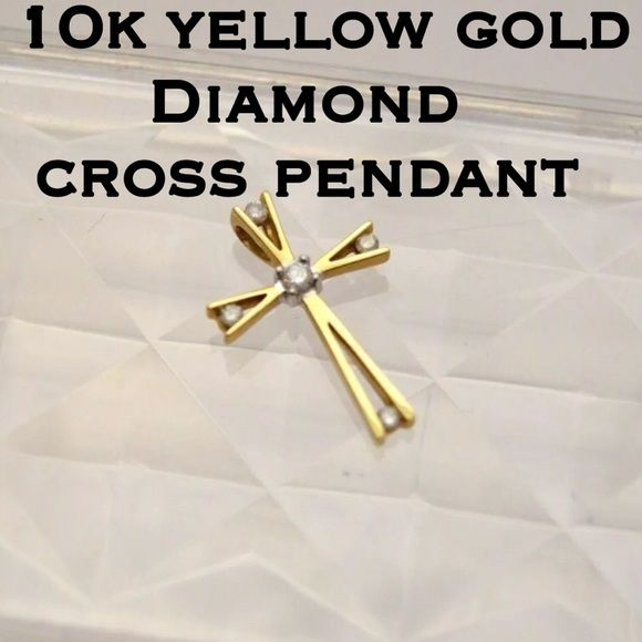 "10k Yellow Gold Small Diamond Cross Pendant This is a pretty 10k Solid Yellow Gold Small Diamond Cross Pendant. Measures .70"" x .46"". Weighs 0.69 gram. Diamond weigh is .10 ctw. Marked 10k HDS which is one of the nice diamond stores. This pendant is in great pre-owned condition! If you love diamonds, small crosses and/or gold jewelry this pendant is for you! Would also make a great gift for that special someone in your life!  Thanks for stopping by! Please ask any questions! Also please make…"