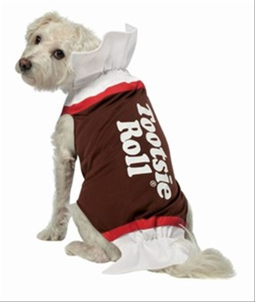 Dog Tootsie Roll Costume - Your dog will be sweet as candy this Halloween with this adorable Tootsie Roll Dog Costume.  This one-piece costume for dogs includes a pullover dog jacket. The dog jacket is designed to look like a tootsie roll wrapper. It features leg holes in the front and hangs loose in the back to keep everything comfortable for your puppy. The dog jacket does up around the collar with velcro tabs, to keep it safe if the costume snags on something. #candy #yyc #costume #pets