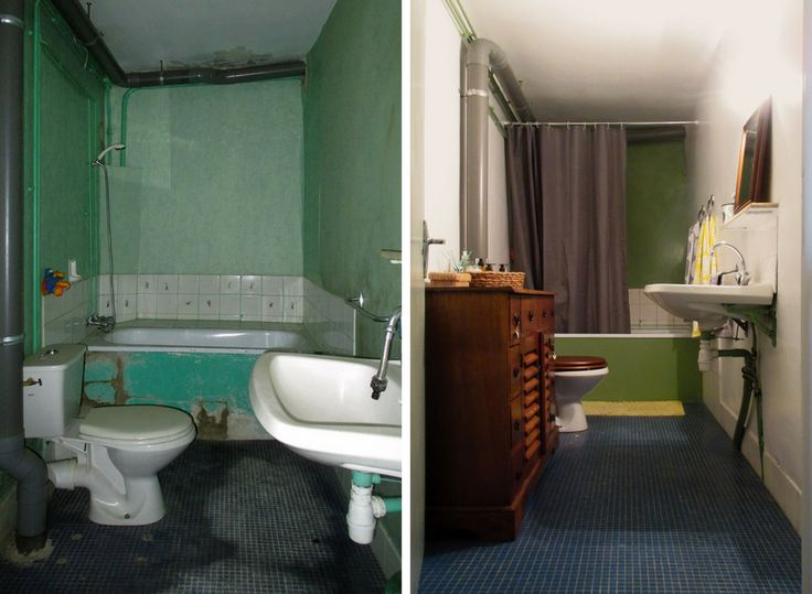 BEFORE & AFTER: we transformed this narrow windowless bathroom to the light oasis that is now with merely a deep clean, wallpaper removal, complete diy paint job and an introduction of thrifted dark wood for storage.  Bye bye mold, hello spa-day-every-day!