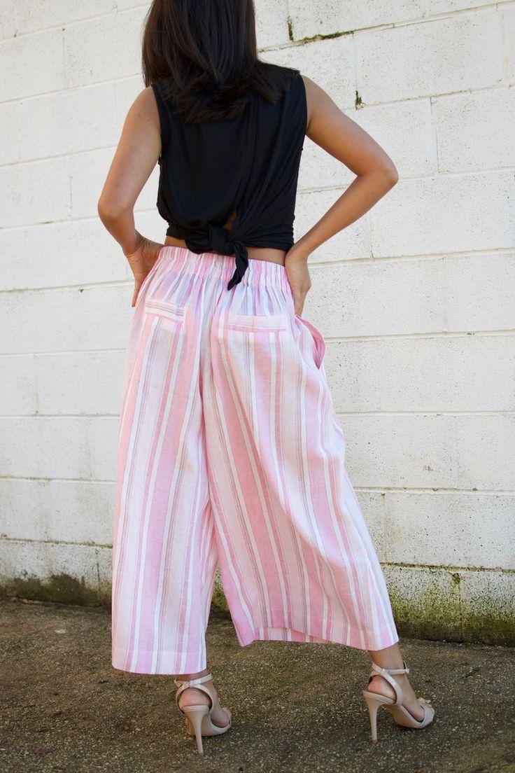 L.4 Linen Resort pants rear elastic band-Linen pants-Green linen Wide leg pants -Cocktail pants – Beach pants- Low crotch pants – Streetwear