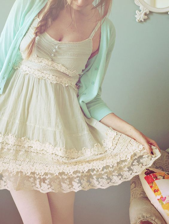 adorable outfit - mint cardigan over a vintage style dress.