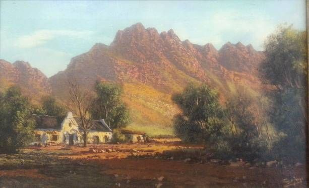 S2946 Tinus De jongh Cape Cottages Oil on Canvas 31cmx51cm
