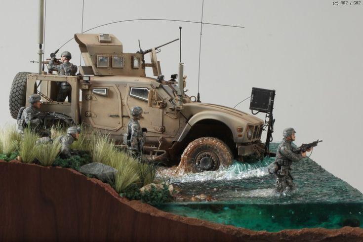 River Crossing - Oshkosh M-ATV - MRAP (Mine Resistant Ambush Protected) 1/35 Scale Model Diorama