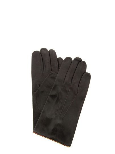 Paul Smith - men soft chocolate brown leather gloves. The gloves feature a vintage multi stripe trim, single button fastening and an embossed Paul Smith signature. £120 at Coggles.com