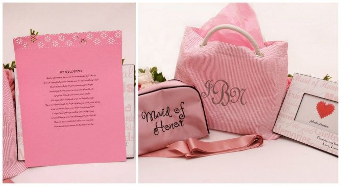 Maid of Honor Gift - Pink gift bag. Modern Jewish Wedding at the Ritz-Carlton Beach Resort in Naples, FL | Modern Jewish Wedding Blog