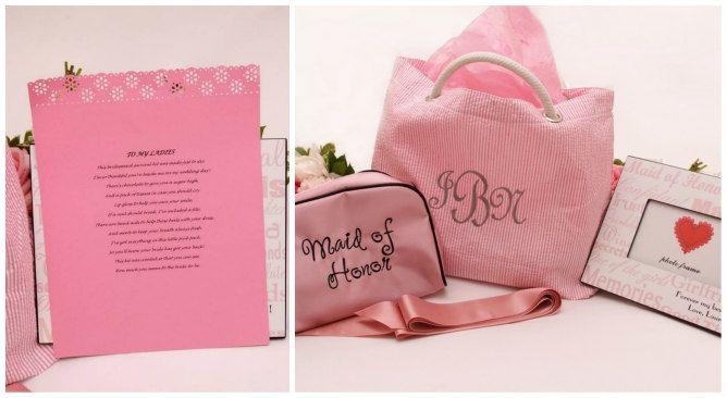 Maid of Honor Gift - Pink gift bag. Modern Jewish Wedding at the Ritz-Carlton Beach Resort in Naples, FL | Modern Jewish Wedding Blog