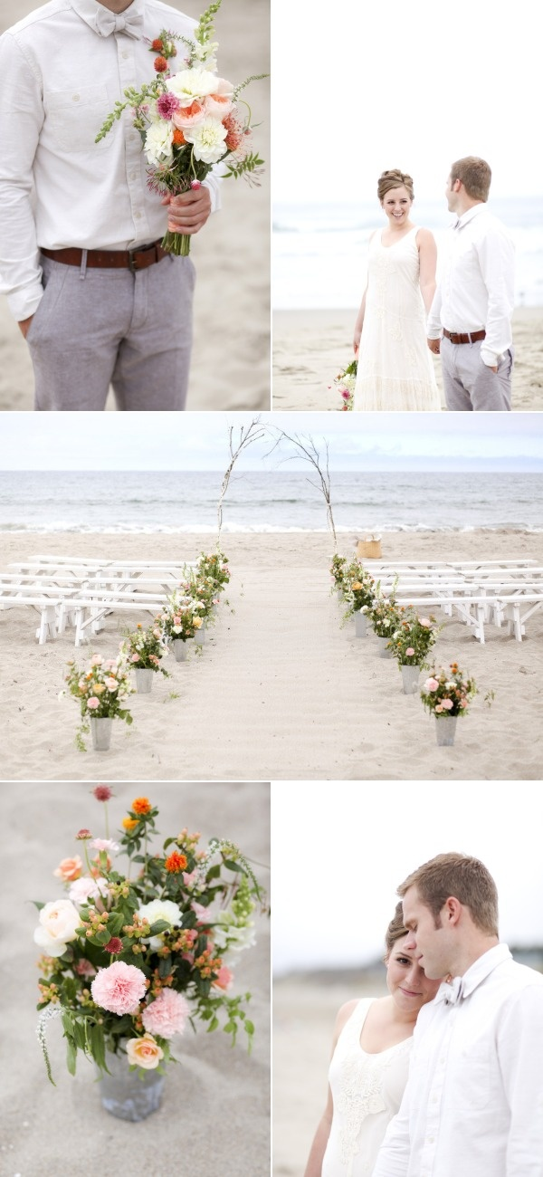 """Bottom Photo - Love the containers for the flowers as well as the idea to use branches for the """"arch"""""""