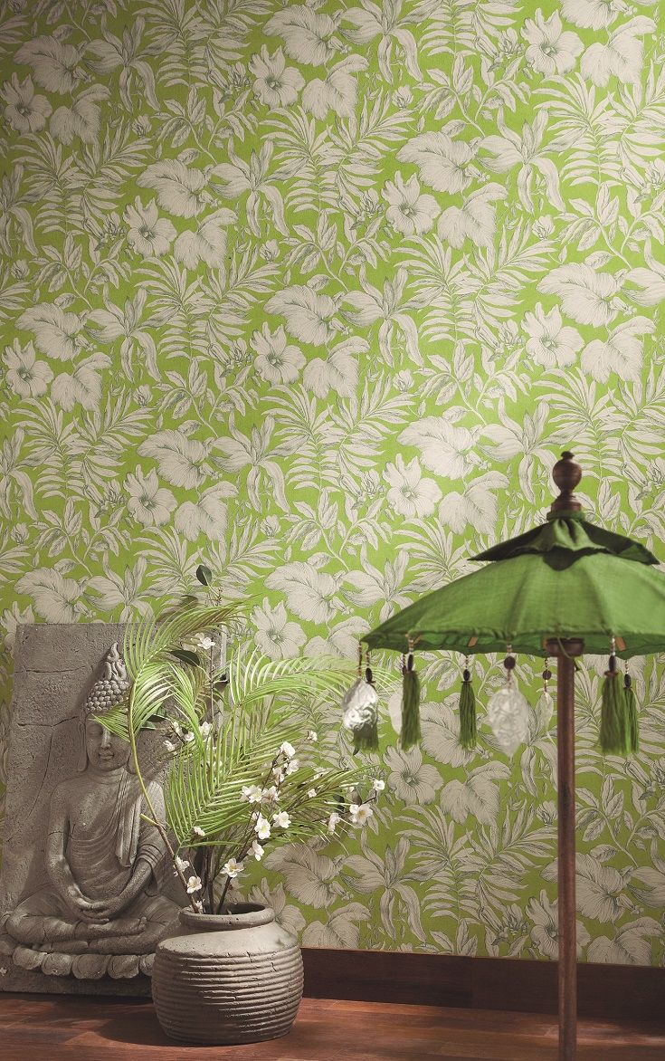 Featuring Lush Jungle Leaves And Flowers, With A Line Drawn Effect In A  Soft Taupe Colour On A Bold Lime Green Background. Amazing Pictures