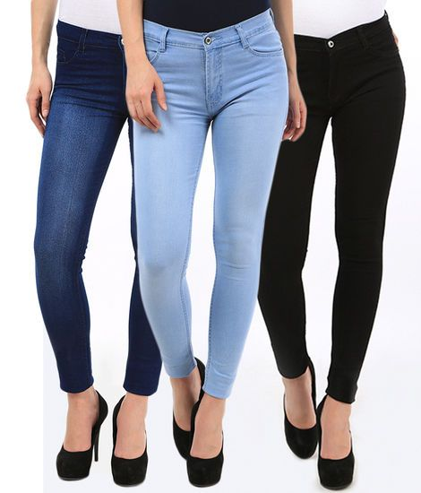 Fasdest Ladies/Women  Basic  Ankle Length  Blue,Black, Ice Blue  Jeans Combo   | eBay