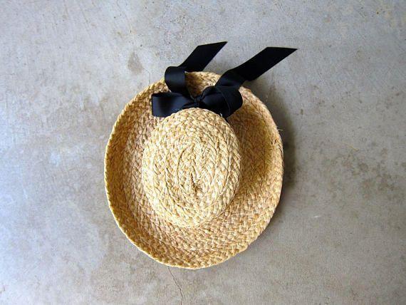 Vintage Brim Straw Hat Gardener Farm Straw Hat Light Weight Woven Boho Summer Hat Black Ribbon Natural Straw Mexican Hat Womens XS Small