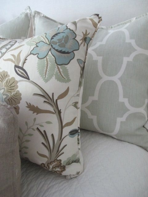 currently have schumacher westbourne grove in mineral, seen here with coordinating mint green pillow.  could do similar pattern but slightly darker/muted color. design indulgence: FABRIC STORIES PART TWO