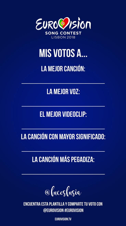 Eurovision 2018 plantilla para instagram por LucesLusía - Mis votos a...