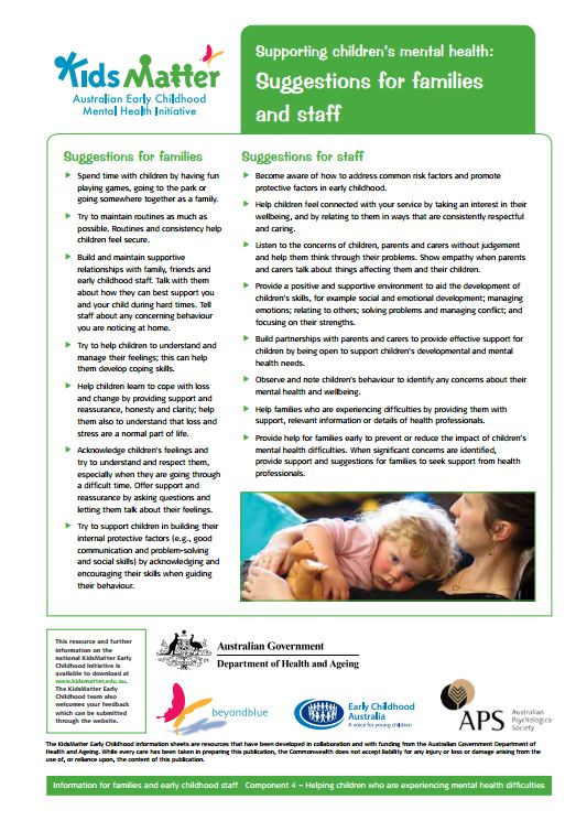 Top tips: Supporting children's mental health: Suggestions for families and staff. Information sheets for families and ECEC staff.