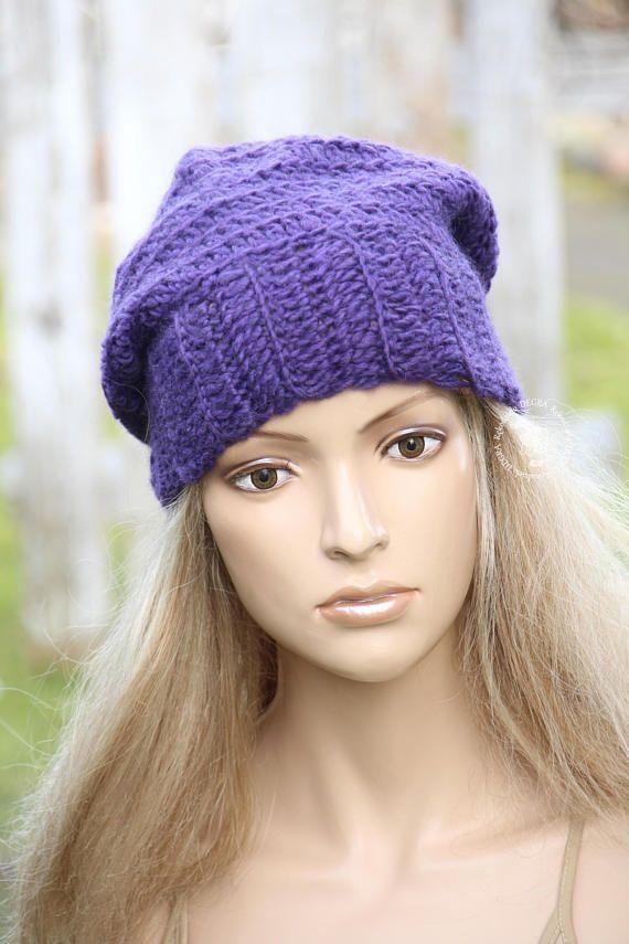 Purple crochet hat Winter chunky Hat Women's winter hat