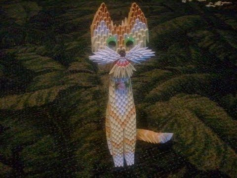 how to make 3d origami yellow cat origami and paper quilling paper fonts pinterest. Black Bedroom Furniture Sets. Home Design Ideas