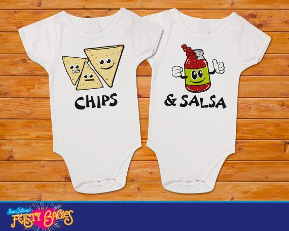 Chips & Salsa Twin Onesies Set by feistybabies on Etsy, $25.99