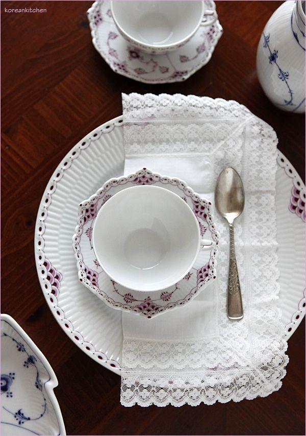 Royal copenhagen royal purple(ruby red) princess plate & full lace tea cup