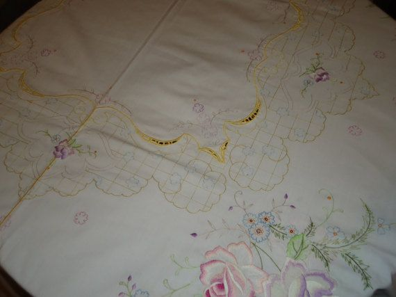 Vintage Embroidered White 72 by 108 oblong Tablecloth