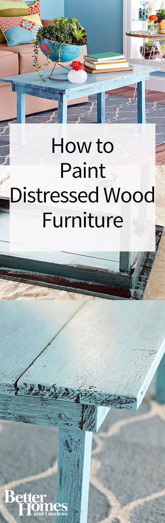 Use this distressed furniture technique to age wood furniture with paint. Distressed wood furniture is perfect for rooms decorated with flea market finds and antique treasures, but the best thing about this technique is you don't have to buy old to get a charming patina. Learn how to distress furniture in almost no time with this easy guide.