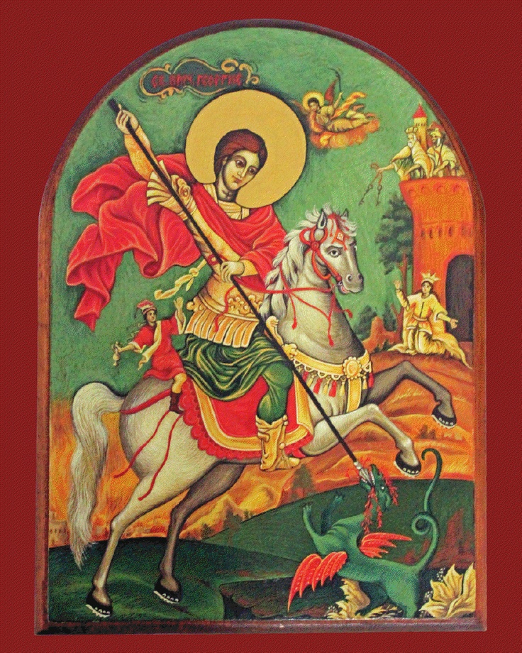 My icon of Saint George, done in 2007 by my good friend Nena from Serbia. I've adopted it as my icon for my Palestinian Orthodox work as well. Holy Martyr Saint George, pray to God for us!