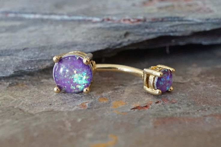 Purple opal gold belly button rings, opal belly ring. Glowing purple synthetic…
