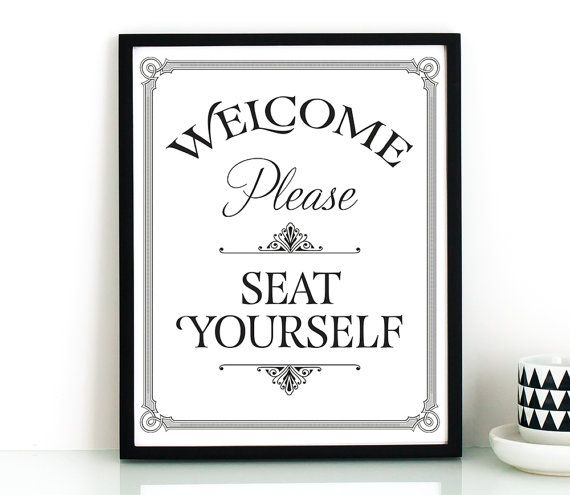 Bathroom Wall Art Printable Please Seat Yourself Sign Restaurant Decor Funny Prints Kids Pinterest