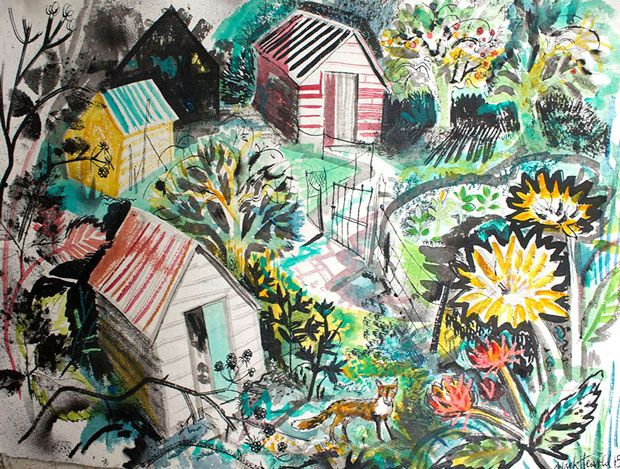 """""""Allotment"""" by Mark Hearld, 2015 (collage)"""