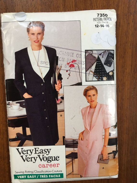Vogue-Career-7350-1988-Misses-Misses-Petite-Dress-Top-Sizes-12-14-16—FF Uncut Hard to find Coat Dress 1980s 1980s shoulder pads, power dressing,  Etsy weseatree patterns 1980s