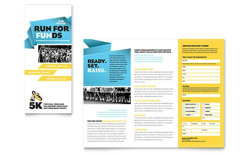 two colors blue and yellow   Charity Run Tri Fold Brochure Microsoft Publisher Template Design