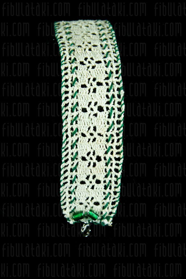 Fibula Takı - Çeyiz Sandığı Serisi / Bileklik - örgü - dantel - beyaz, yeşil