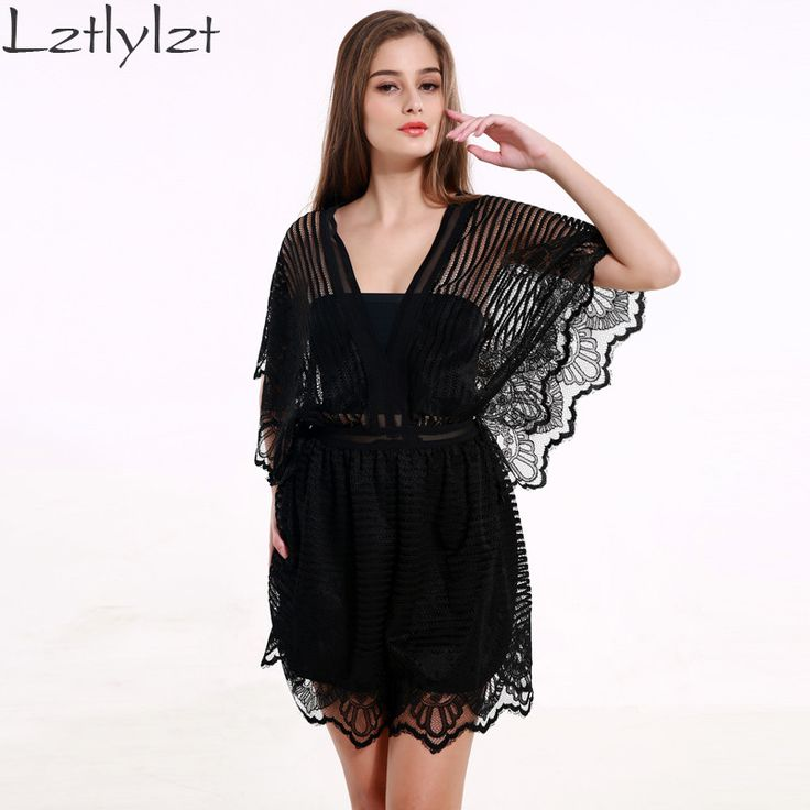 Summer Rompers Womens Jumpsuit One Piece Black Sexy Hollow Out Lace Backless Playsuit Women club Party Clothes
