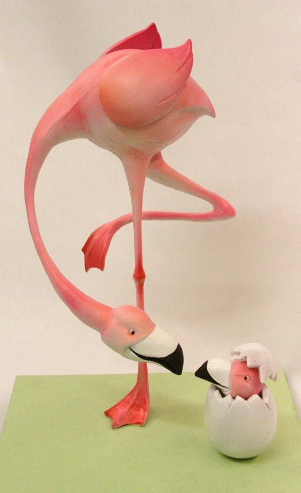 Mike's Amazing Cakes Mama Flamingo with Baby Hatching Out of Egg Cake!