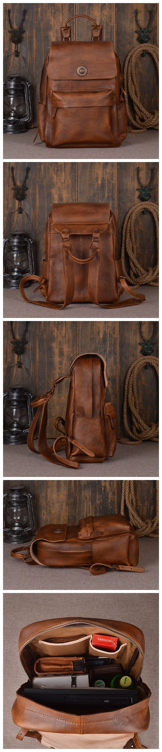 HANDMADE ITALIAN TANNED LEATHER BACKPACK SCHOOL BACKPACK CASUAL BACKPACK COOL BACKPACK FOR TEENS