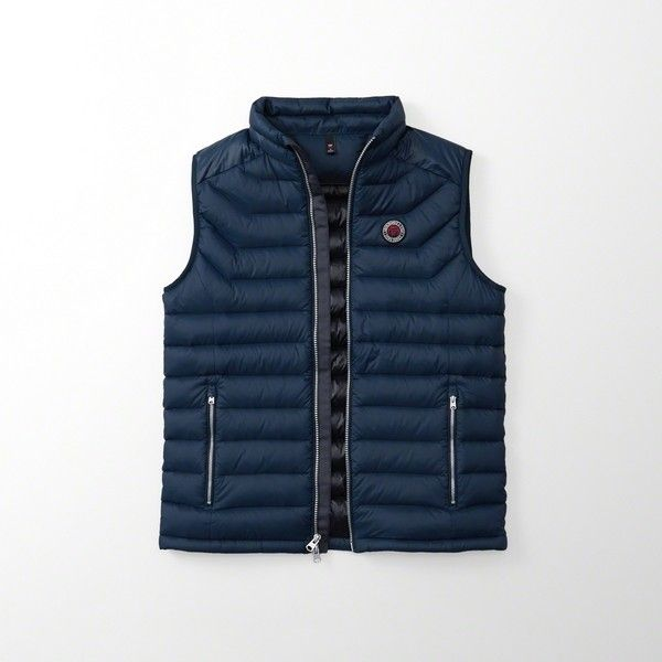 Abercrombie & Fitch Puffer Vest ($63) ❤ liked on Polyvore featuring men's fashion, men's clothing, men's outerwear, men's vests, blue, mens puffer vest, mens blue vest, mens puffy vest and mens lightweight vest