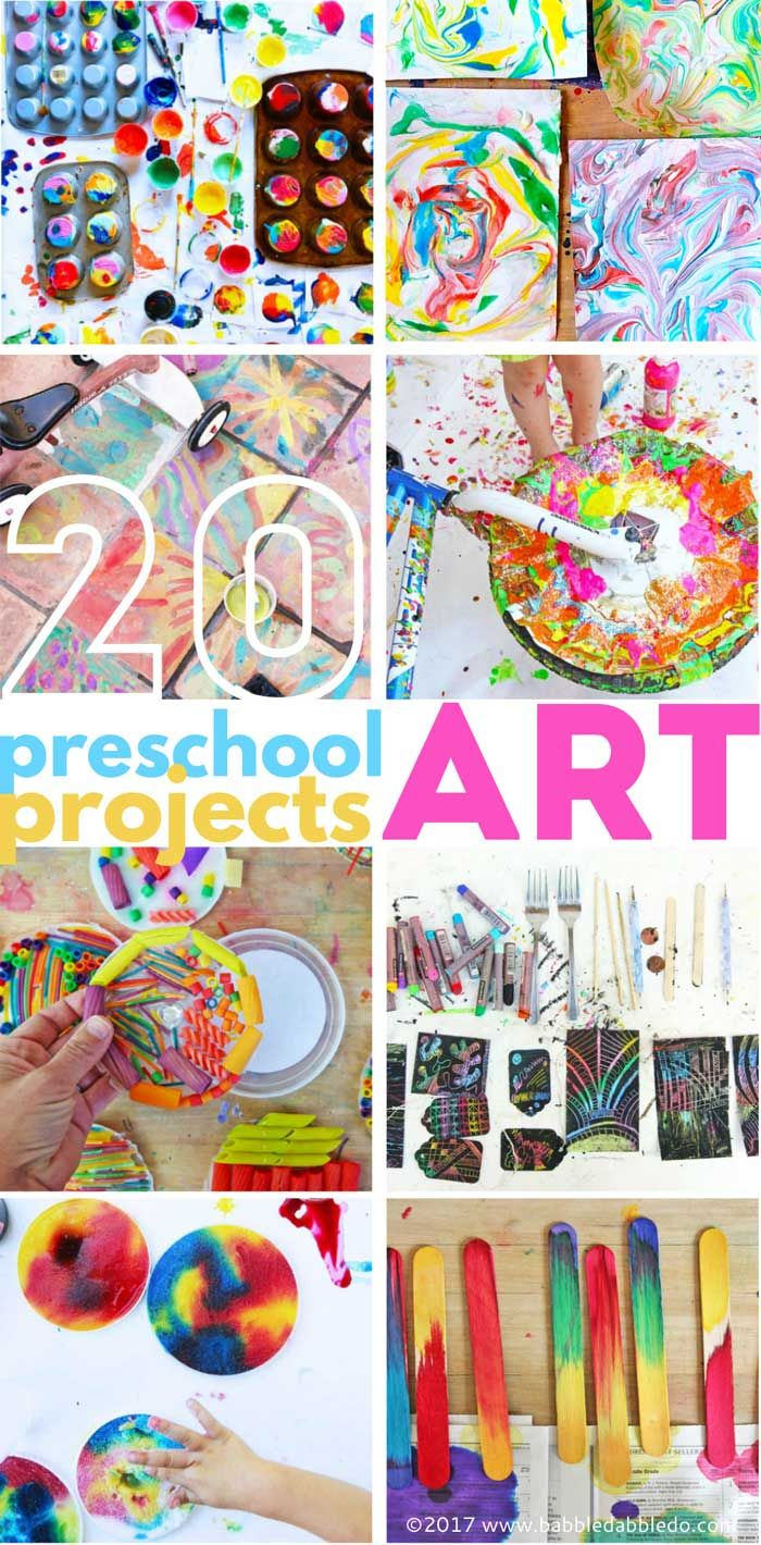 20 Preschool Art Projects: Colorful and engaging art project for preschool aged children!