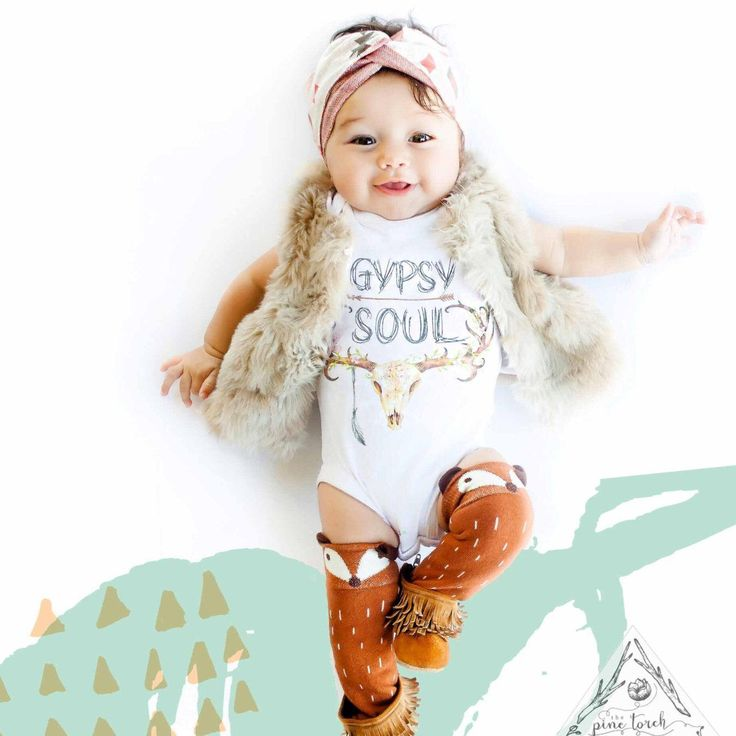 Gypsy soul skull antlers feather baby 174 creeper one piece boho girls clothes pinterest