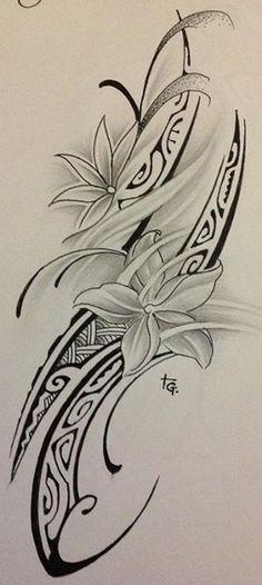 Croquis pour Tattoo Femme Polynésien affichant un bandage de tresses, une file de motifs et deux motifs florales