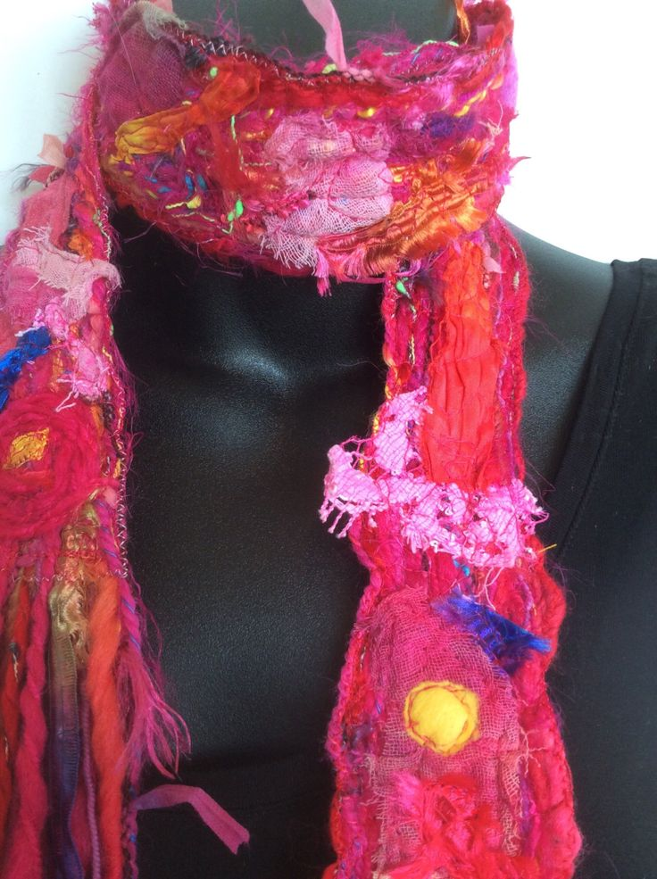 UNIQUE HANDMADE Textured RED Scarf, lots of fibre and texture in this very new scarf, Wearable Art Scarf by glasscreektextiles on Etsy